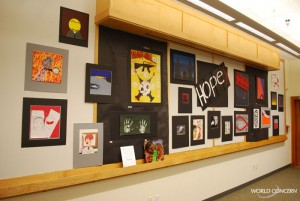 World AIDS Day art display for humanitarian organization World Concern.
