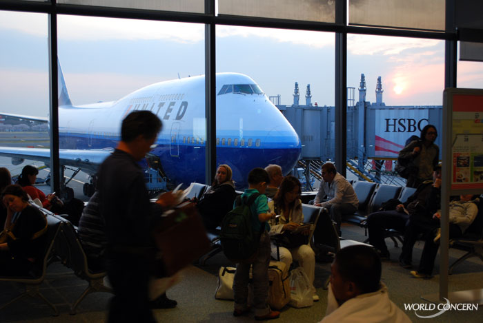 In Tokyo's Narita airport. This is the plane I took from to Bangkok to begin this humanitarian journey.