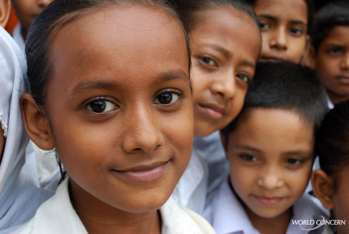 Beautiful children outside a World Concern school in Dhaka, Bangladesh. We have a special interest in seeing girls have an availabilty to education.