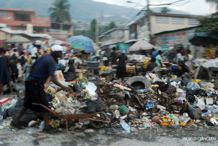 In Port-au-Prince, Haiti, piles of trash line many streets, sometimes set on fire.