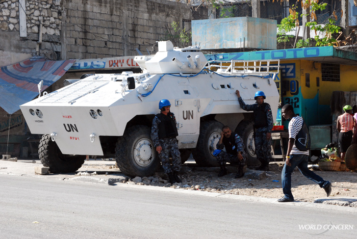 UN member countries contribute police forces to help stabilize Haiti's security.