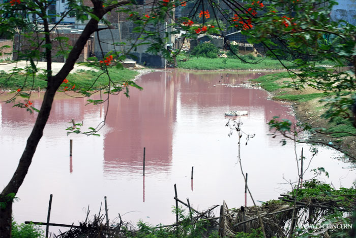 Near a Bangladesh slum, heavy pollution near a turned this lake red.