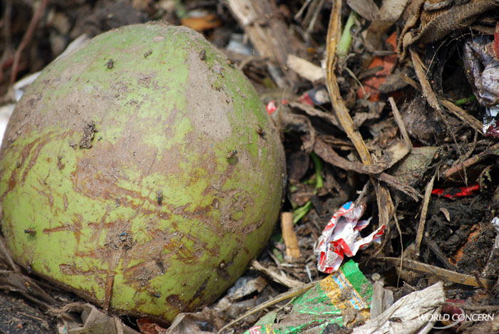 A fly-covered melon is one of the treats to be found in a Bangladesh dump frequented by hungry children.
