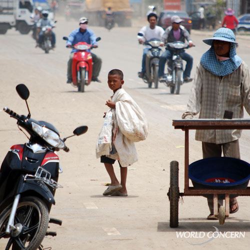This boy walking along the Cambodia border is at risk. The UN estimates 1.2 million children are trafficked annually.
