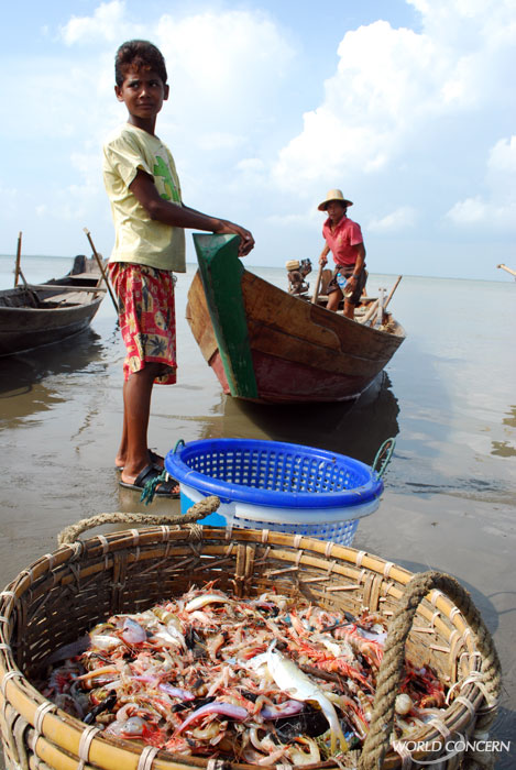 World Concern's humanitarian aid in Myanmar includes supplying fishermen with boats. They repay a small portion of the cost of the boat, and are able to regain their livelihoods after the 2008 cyclone Nargis.