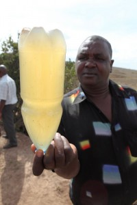 Dirty water from a pond in Kenya.