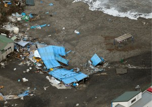 Tsunami damage in Japan.