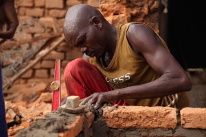 A bricklayer in Chad.