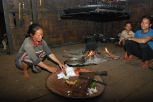 Preparing a meal in Laos.