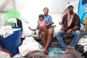 A Haitian family's bed in their tent.