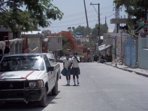 Children walking home from school in Port au Prince, Haiti.