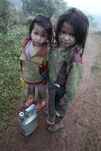 Little girls in Dak Din, Laos.