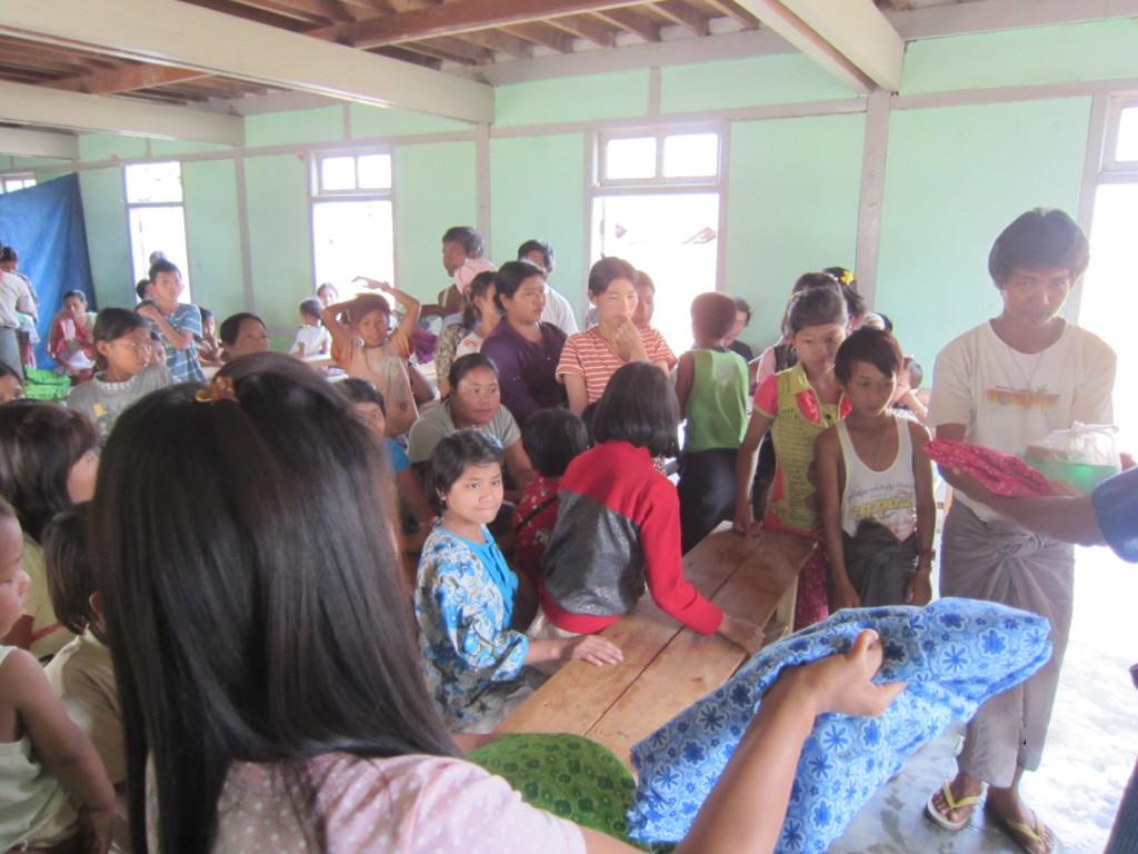 Families receiving supplies.