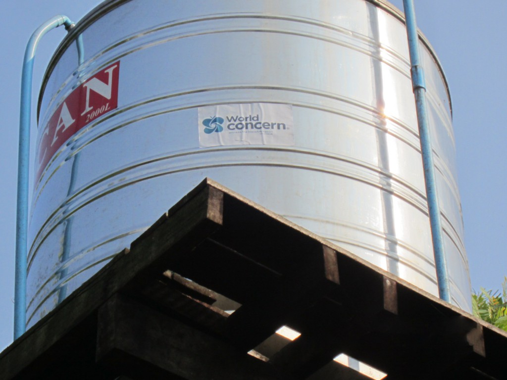 A water tank holds safe drinking water.