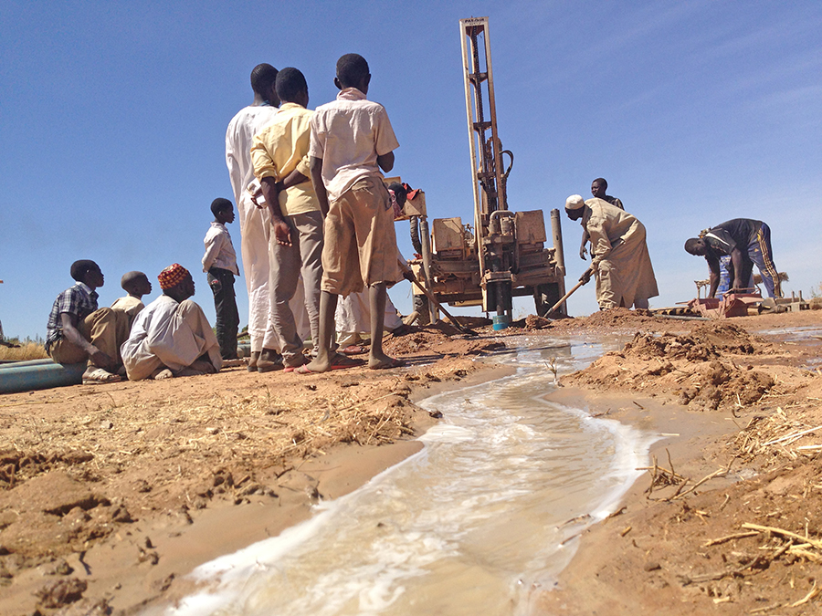 Water gushes from the newly drilled well in Maramara, a village of about 200 families in Eastern Chad.