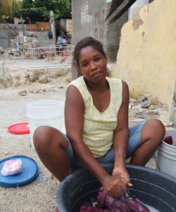 A mom in Haiti.