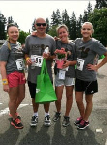 Here's me after last year's Free Them 5k, with my husband, my daughter, and her friend. I used this photo on my fundraising page this year to personalize it.