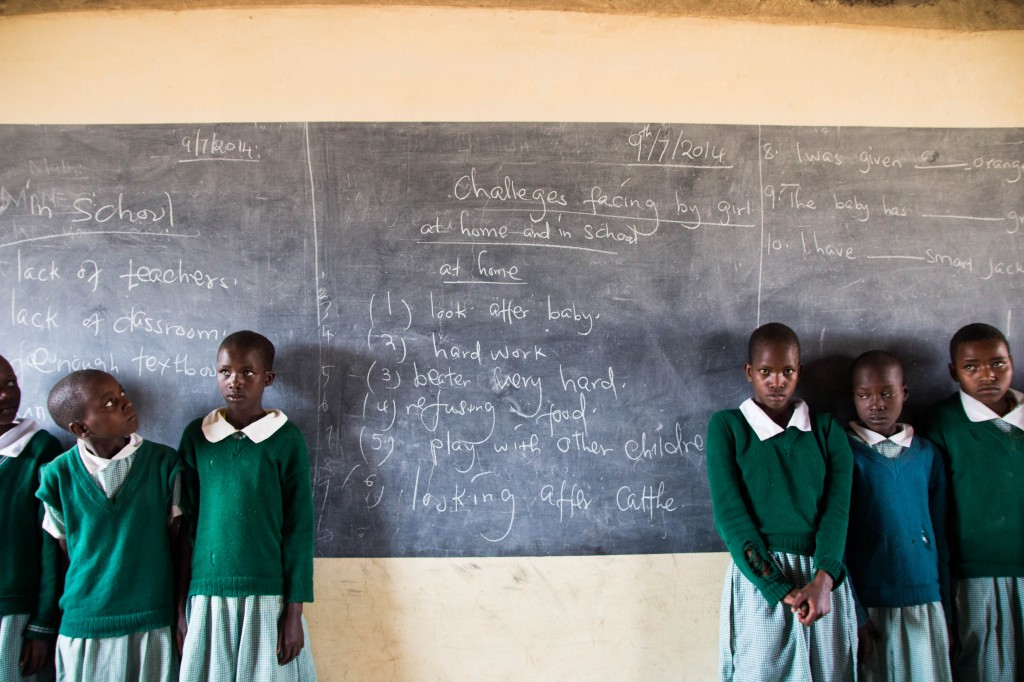 Listed on this chalk board in Jackline's classroom are some of the struggles girls in rural Kenya face.