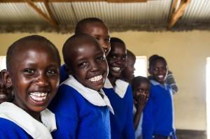 Happy girls in school
