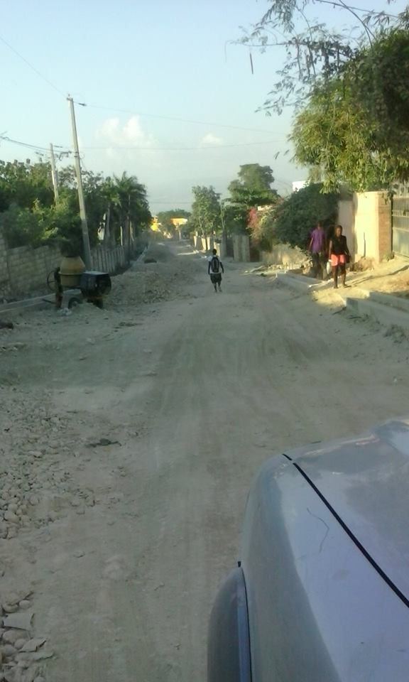A road under construction in Haiti.