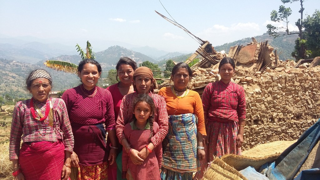 These women are living together in a tent after their house crumbled in the earthquake.