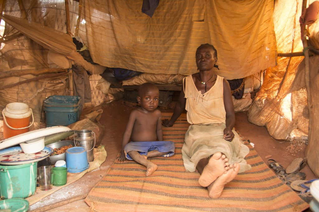 a mother and child who are homeless in South Sudan