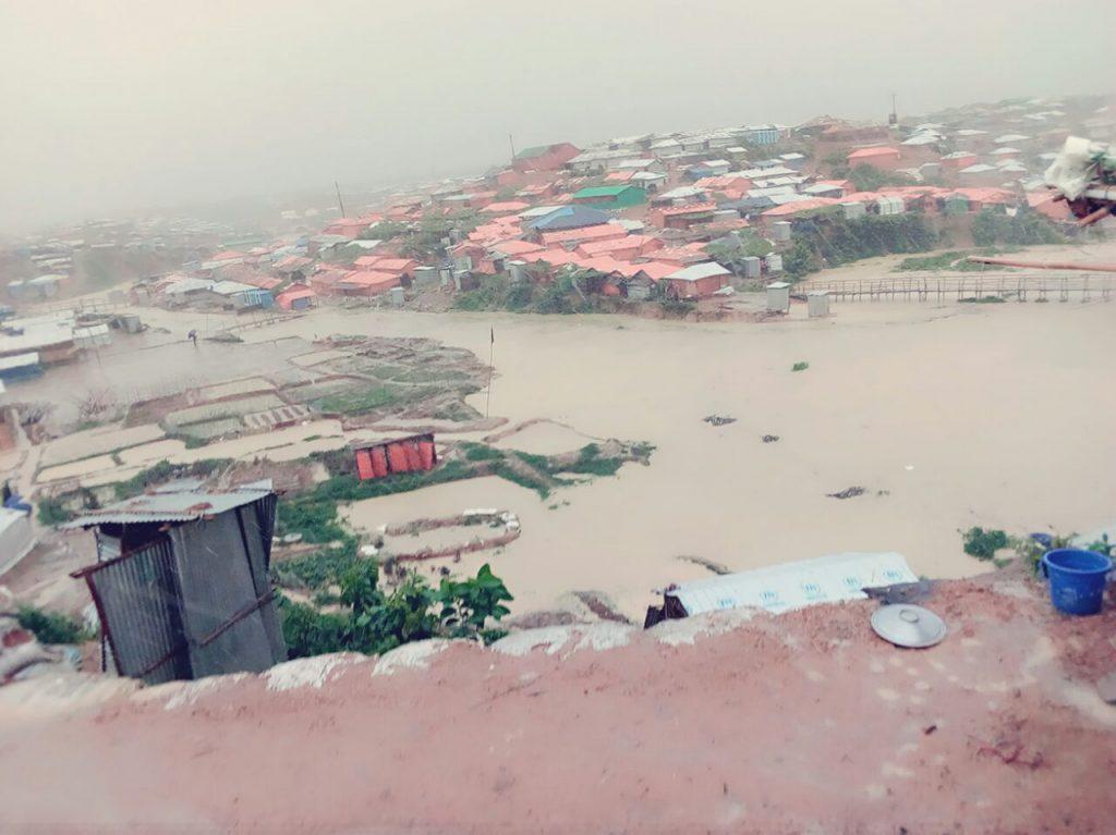 Flooding in Rohingya refugee camps in Bangladesh